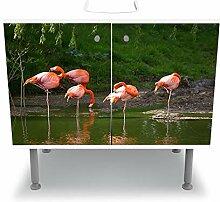wandmotiv24 Badunterschrank weiß, Flamingos in