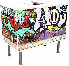 wandmotiv24 Badunterschrank weiß, Graffiti 2