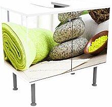 wandmotiv24 Badunterschrank weiß, Handtücher und