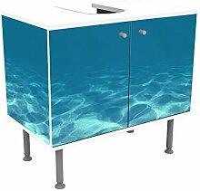 wandmotiv24 Badunterschrank weiß, Hellblau unter