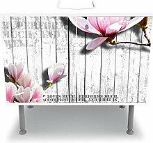 wandmotiv24 Badunterschrank weiß, Holz rosa