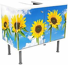 wandmotiv24 Badunterschrank weiß, Sonnenblumen