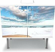 wandmotiv24 Badunterschrank weiß, Strand und