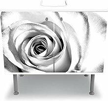 wandmotiv24 Badunterschrank weiß, weiße Rose