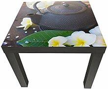 wandmotiv24 Beistelltisch Blumen und Tee