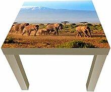 wandmotiv24 Beistelltisch Elefantenherde am
