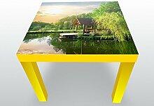 wandmotiv24 Beistelltisch Gartenlaube an kleinem See Designtisch M0694 Deco Kunstdruck Gelb - Ma