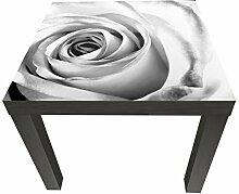 wandmotiv24 Beistelltisch weiße Rose Blüte