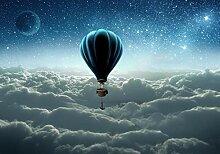 wandmotiv24 Fototapete Ballon Wolken Sterne XL 350