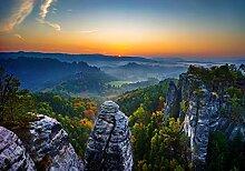 wandmotiv24 Fototapete Bastei mit Sonnenaufgang XL