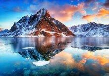 wandmotiv24 Fototapete Berg mit See, XL 350 x 245