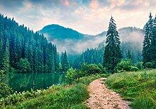 wandmotiv24 Fototapete Berge mit Pfad, M 250 x 175