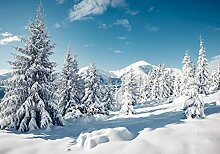 wandmotiv24 Fototapete Berge mit Schnee, M 250 x