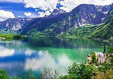 wandmotiv24 Fototapete Berge mit See L 300 x 210