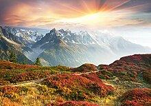 wandmotiv24 Fototapete Berge mit Sonnenuntergang