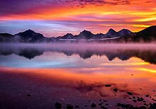 wandmotiv24 Fototapete Berge mit Sonnenuntergang,