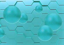 wandmotiv24 Fototapete Blaue Kugeln 3D-Abstrakt M