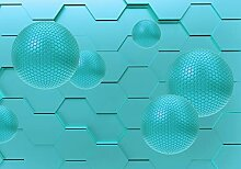 wandmotiv24 Fototapete Blaue Kugeln 3D-Abstrakt