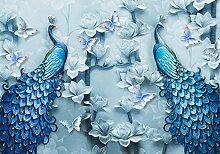 wandmotiv24 Fototapete blaue Pfaue Kunst, XL 350 x