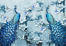 wandmotiv24 Fototapete blaue Pfaue Kunst, XXL 400