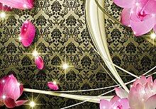 wandmotiv24 Fototapete Blüten Gelb Ornament M1597