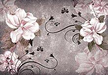 wandmotiv24 Fototapete Blüten Vintage Beton