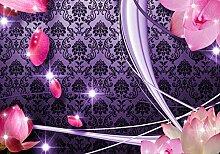 wandmotiv24 Fototapete Blüten Violett Ornament