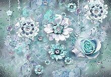 wandmotiv24 Fototapete Blumen Ornament Vintage