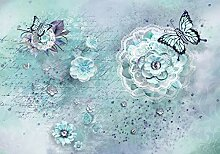 wandmotiv24 Fototapete Blumen Vintage türkis XXL