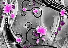 wandmotiv24 Fototapete Diamant Blüten violett