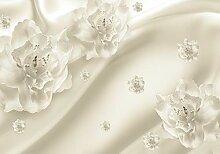 wandmotiv24 Fototapete Diamanten mit Blumen L 300