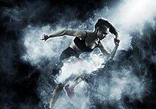 wandmotiv24 Fototapete Fitness Frau mit Rauch
