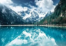 wandmotiv24 Fototapete Gebirge mit See, XL 350 x
