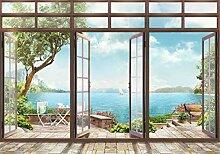 wandmotiv24 Fototapete Große Fenster Ausblick auf