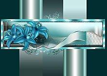wandmotiv24 Fototapete Lilie Muster Rahmen M 250 x