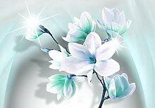 wandmotiv24 Fototapete Magnolie Blüten Türkis