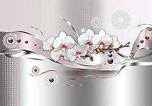 wandmotiv24 Fototapete Orchidee metallisch Welle