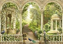 wandmotiv24 Fototapete Park Garten Blumen, S 200 x