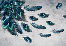 wandmotiv24 Fototapete Pfau Feder Muster, M 250 x