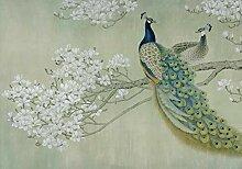 wandmotiv24 Fototapete Pfau Weis Blüten Zweig