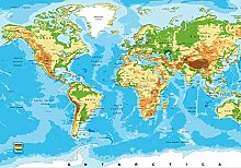 wandmotiv24 Fototapete Physische Welt Karte Relief