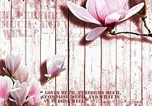 wandmotiv24 Fototapete Pink Holz rosa Blüten