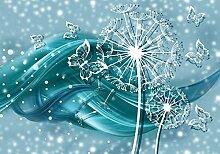wandmotiv24 Fototapete Pusteblume Ornament türkis