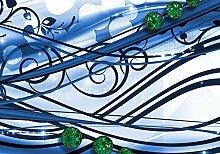 wandmotiv24 Fototapete Ranken Diamant blau M1566