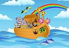 wandmotiv24 Fototapete Regenbogen, Arche, Cartoon,
