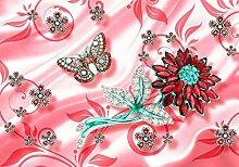 wandmotiv24 Fototapete rot Blume türkis Zweig