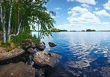 wandmotiv24 Fototapete See mit Ufer, L 300 x 210