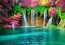 wandmotiv24 Fototapete See mit Wasserfall, L 300 x