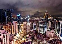 wandmotiv24 Fototapete Skyline Hong Kong Nacht