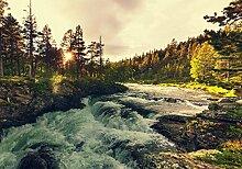 wandmotiv24 Fototapete Sonnenuntergang, Fluss in